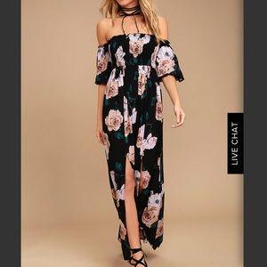 Lulus Primrose Black off shoulder dress
